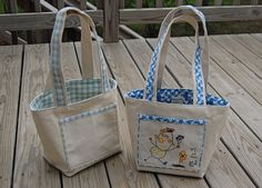 smaller tote bag that stands up on its own  (printable pattern on website)
