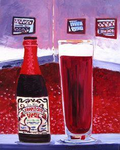 Beer Painting of Framboise Lambic Belgian Raspberry Beer by Lindemans Brewery in Vlezenbeek Belgium. Year of Beer Paintings by Scott Clendaniel - Day 306.