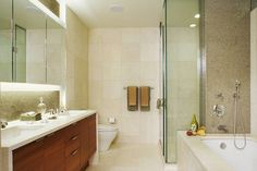 Shower corner with glass and tile   | Usual House