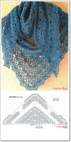 The blue shawl on a simple tape. - all in azhure . (Knitting by hook) - Country . Knitted Shawls, Crochet Scarves, Crochet Shawl, Crochet Clothes, Crochet Lace, Crochet Stitches, Crochet Edging Patterns, Shawl Patterns, Knitting Patterns