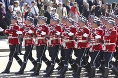 Guardsmen of the National Guards Unit of Bulgaria marching through Prince Alexander of Battenberg Square in Sofia at the 2012 St. George's Day Parade.