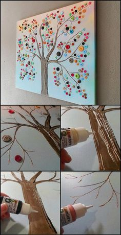 40 Awesome Wall Art DIY Ideas & Tutorials for Your Home Decoration 2019 Button tree wall art. Wall Art Crafts, Art Diy, Canvas Crafts, Art Wall Kids, Diy Wall Art, Wall Art For Bedroom, Room Crafts, Kids Wall Decor, Diy Canvas