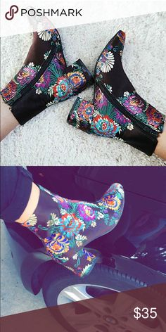 Floral booties Super cute paisley/floral booties 🔹 super trendy right now 🔹In great condition, worn a couple times 🔹nordstrom for exposure 🔹 brand is public desire, $30 through pp Nordstrom Shoes Ankle Boots & Booties