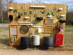 An inviting and inexpensive way to add music outside. I would tweak it a bit for safety and easy access for preschoolers.