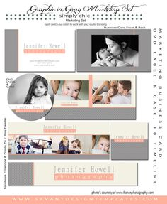 INSTANT DOWLOAD Photography Marketing Template Set - Graphic in Gray - for Photographers - 18 piece set via Etsy