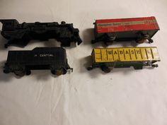 Marx Toys Tin Lithograph Railroad Train Lot 1950's Vintage, 4 Pcs #Marx