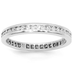 Classic womens eternity band features brilliant channel set round cut diamonds around the band. Band, crafted in 14K white gold makes it an ideal simple yet very elegant gift. $872.00