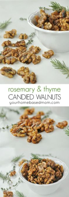 Rosemary Thyme Candied Walnuts Recipe - These are delicious and could be called a triple threat – they are savory, sweet and have a little heat! The perfect treat for Christmas gift giving! christmas food ideas for dinner Healthy Afternoon Snacks, Lunch Snacks, Healthy Snacks, Healthy Recipes, Fast Recipes, Appetizer Recipes, Snack Recipes, Appetizers, Walnut Recipes