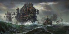 A Fleet Of Castles At Sea