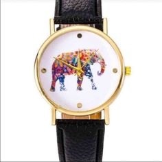 Elephant Watch New watch with black wristband. Big elephant on the face. No trades or Paypal! Accessories Watches