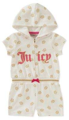 020aea126 Juicy Couture® Glitter Crown Hooded Romper in White Gold  babygirl ...