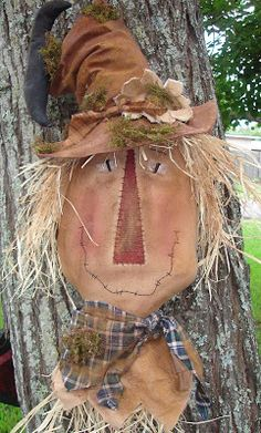 It is never too early to start on Fall patterns. This scarecrow is called Preston. His hat is painted and dist. Primitive Scarecrows, Primitive Autumn, Scarecrow Crafts, Primitive Pumpkin, Fall Scarecrows, Primitive Folk Art, Primitive Crafts, Fall Halloween, Halloween Crafts