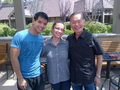 Three of the cast members of Allegiance: Telly Leung, Lea Salonga, George Takei