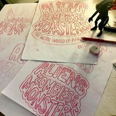 Logo sketches for my upcoming exhibition - ALIENS ZOMBIES & MONSTERS! at Hove Museum. Invading Feb 2018. - - - #aliens #zombies #monsters #art #museum #exhibition #brighton #hove #cartoon #characters #illustration #kidlitart #characterdesign #sketching #sketchbook #colerase #xenomorph #pencils #sketch #prismacolor