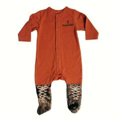 Amazon.com: BROWNING BRB007.330 TEXAS ORANGE ONE-PIECE BABY PAJAMAS ORG. /CAMO ACCENTS: Clothing (boots/shoes on a romper)