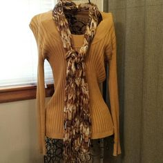 Sweater with Scarf Very pretty and classy dark mustard sweater with scarf.  Worn once excellent condition!  Looks great with jeans or dress pants. Apt. 9 Sweaters