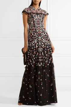 Needle & Thread - Posy Ruffle-trimmed Embroidered Tulle Gown - Black