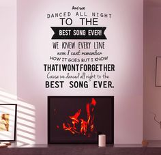 Best Song Ever! Lyrics Wall decal by One Direction