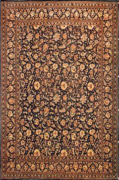 Tabriz  Black & Gold Versace Silk Persian Rug - Item# EK-5A  Size: 201 x 302 (cm)      6' 7 x 9' 10 (ft)