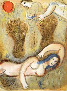 Boaz wakes up and sees Ruth at his feet (1960) Marc Chagall [lithograph print]