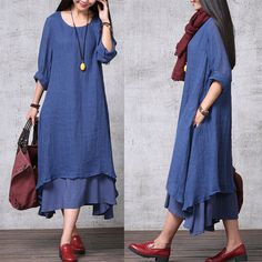 Casual Loose Fitting Long Sleeved Cotton and Linen Long Dress Blouse- Blue – Women Maxi dress Informelle Flojo Montaje Largo Manga Larga Blouse Dress, Maxi Dress With Sleeves, Simple Dresses, Casual Dresses, Boho Fashion, Fashion Dresses, Linen Dresses, Maxi Dresses, Bridesmaid Dresses