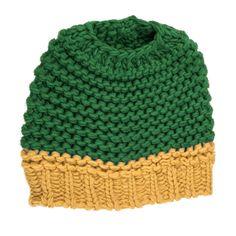 Knitted Bun Hat-Green/Yellow