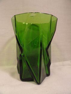 "Jungle Green Ruba Rombic Tumbler #2 9 oz 4"" Flat Elegant Depression Glass As Is #ConsolidatedLampandGlassCompany"