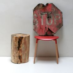 Tree Stump Table Stool Seat Trunk Reclaimed Eco by realwoodworks1, $360.00