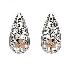 Celtic Shamrock Stud Earrings | Irish Jewelry