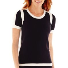 A versatile top with a retro feel. Liz Claiborne Short Sleeve Tipped Sweater - JCPenney