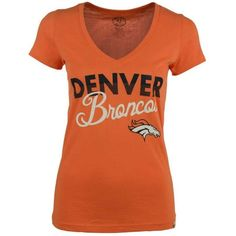 '47 Brand Women's Denver Broncos V-Neck T-Shirt ($36) ❤ liked on Polyvore featuring tops, t-shirts, orange, orange shirt, v neck shirts, cotton tee, cotton t shirt and logo t shirts