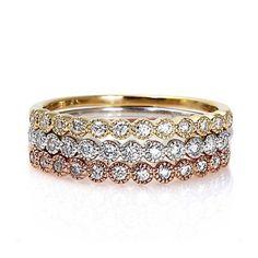 Stacks! Set of Three Diamond Bands Anniversary Bands Wedding Ring Stacking Rings 14K White Yellow Rose Gold via Etsy
