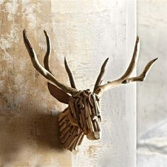 Our beautiful Roost Driftwood Deer Head pieces are hand crafted by skilled artisans, from natural driftwood. Heads look great on their own or festooned with twinkling lights.Each piece is unique by nature. Twig Crafts, Nature Crafts, Driftwood Sculpture, Driftwood Art, Driftwood Table, Deer Mounts, Driftwood Projects, Faux Taxidermy, Home Decor Online