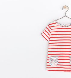 STRIPED T-SHIRT WITH FLORAL POCKET from Zara