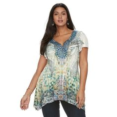 Plus Size World Unity Embellished Sublimation Sharkbite Top, Med Green