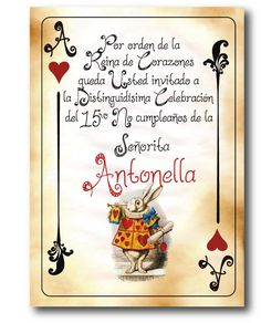 Imagen relacionada Sweet Sixteen, Alice In Wonderland Party, Sweet 15, Day Wishes, Deck Of Cards, Tea Party, Birthday Parties, Baby Shower, Invitations