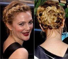 Hoy para la boda me he decantado por este peinado, que os parece? Drew Barrymore