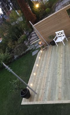 Wooden deck with lightning and poles for sun sail . Thank you my husband😍