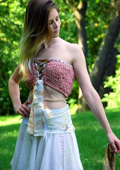 rags to roses wearable art halter/bandeau top NEW by EarthenPurl, $69.00