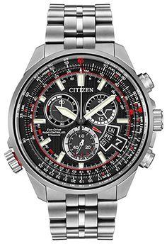 Citizen Hombre chronotime Reloj de cuarzo con Negro esfera analógica pantalla y pulsera de titanio (Plata, BY0120-54E