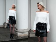 Get this look: http://lb.nu/look/8558321  More looks by MONIKA S: http://lb.nu/mxagnes  Items in this look:  Yoins White Fluffy Swater, High Waist Patent Leather Skirt, Fishnet Tights With Silver Thread, Bag, High Heels   #chic #classic #minimal