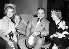 Marion Davies (right) pays a surprise visit to Shirley Jones and James Cagney on the set of Never Steal Anything Small. Davies was accompanied by Mrs. Clark Gable (Kay Williams, second from left)