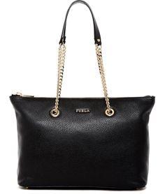 Furla New Julia Leather Chain Black, Gold Tote Bag. Get one of the hottest… Leather Chain, Gold Leather, Designer Handbags On Sale, Vintage Bags, Black Tote Bag, Bag Sale, Shoulder Bag, Purses, Furla Bag