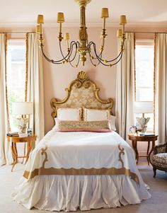 Ruth Burts Interiors: Soothing Paint Colors for the Bedroom - durango dust Gold Bedroom, Dream Bedroom, Modern Bedroom, Bedroom Decor, Feminine Bedroom, Bedroom Romantic, Glamour Bedroom, Pretty Bedroom, White Bedroom