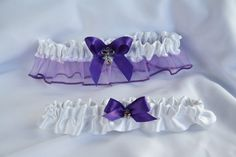 $ 37.00  Purple and white garters
