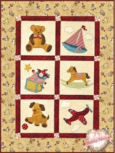Vintage Toybox Pattern: Celebrate the joys of yesteryear with this darling… Baby Quilt Patterns, Applique Patterns, Applique Quilts, Quilting Patterns, Sewing Patterns, Amische Quilts, Baby Applique, Jack In The Box, Shabby Fabrics