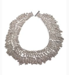 Knitted Metal Fringes NecklaceSilver statement by NFCrafts on Etsy