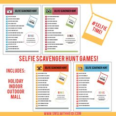 There is no doubt that this generation loves to take selfies. Print out these Selfie Scavenger Hunts for your next get together or party.