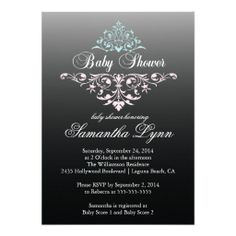 Elegant Black Pink Blue Baby Shower Invitation