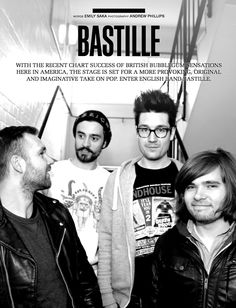 Read Emily Saka's story on the stunning Bastille in SOUNDS, issue #10 and view the band's in depth SOUNDS Q&A here: https://vimeo.com/69749187. Download the magazine on iPad here: https://itunes.apple.com/us/app/project-sounds-for-ipad/id509151611?mt=8